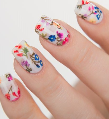 Multi colored garden floral nail art