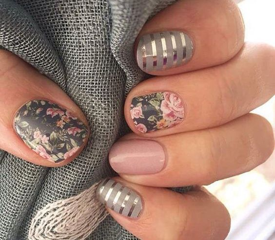 Florals and Stripes Nail Art