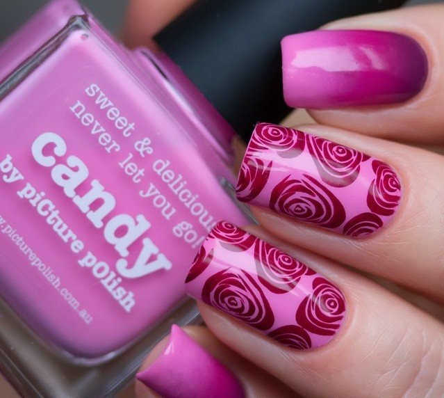 Maroon Colored Floral Nail art
