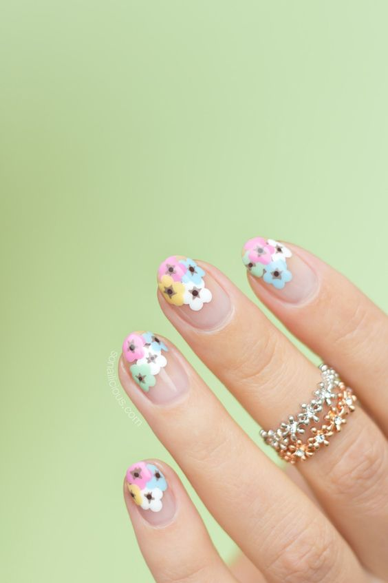 Pastel Daydream floral nail art