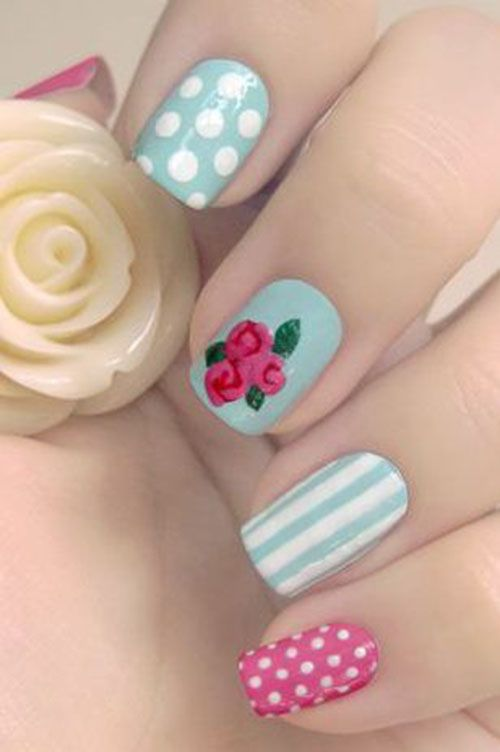 Mix and Match Floral Nail Art