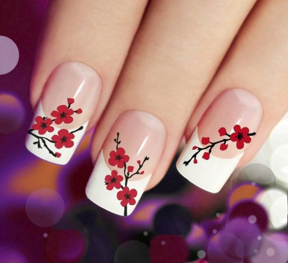 Cherry Blossom Wild Floral Nail art