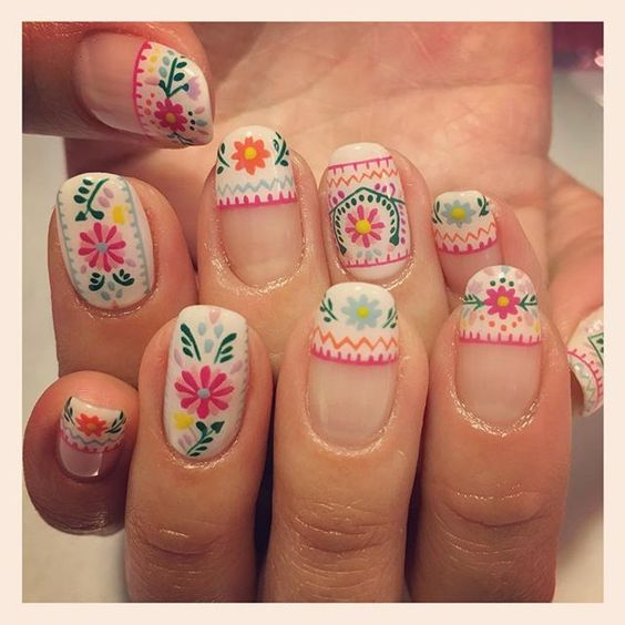 hippie chic floral nail art